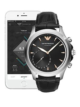 Emporio Armani ART3013 Mens Hybrid Smartwatch with Black Leather Strap, One Colour, Men thumbnail