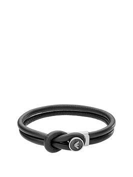 emporio-armani-mensnbspblack-leather-button-logo-bracelet