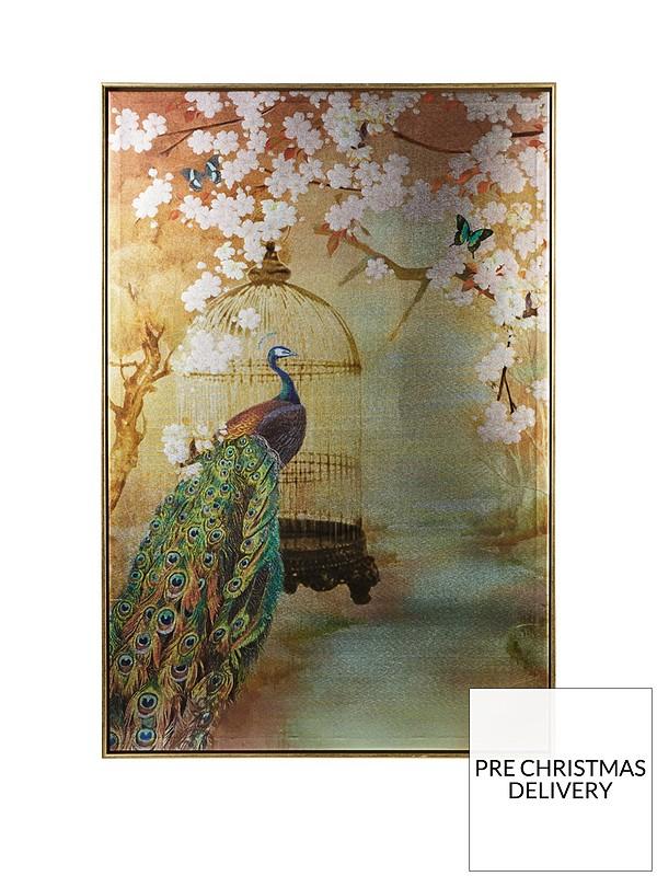 Suki Peacock Framed Canvas Print