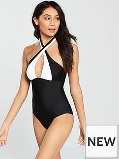 v-by-very-halter-neck-swimsuit-ndash-monochrome