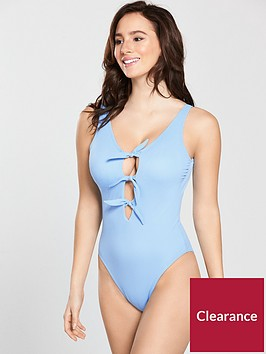 v-by-very-triple-bow-ribbed-texture-swimsuit-cornflowernbspblue
