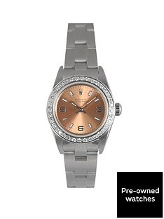rolex-rolex-pre-owned-oyster-perpetual-salmon-dial-and-diamond-bezel-stainless-steel-ladies-watch-ref-76080