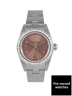 rolex-rolex-pre-owned-oyster-perpetual-black-dial-and-diamond-bezel-stainless-steel-ladies-watch-ref-67180