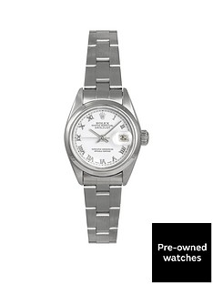 rolex-rolex-pre-owned-datejust-white-roman-numeral-dial-stainless-steel-ladies-watch-ref-69160