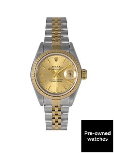 rolex-rolex-pre-owned-datejust-champagne-baton-dial-bimetal-ladies-watch-ref-69173