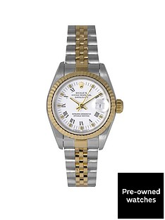 rolex-rolex-pre-owned-datejust-white-roman-numeral-dial-bimetal-ladies-watch-ref-69173