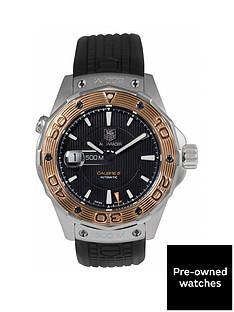 tag-heuer-tag-heuer-pre-owned-aquaracer-calibre-5-automatic-black-dial-bimetal-mens-watch-ref-waj2150