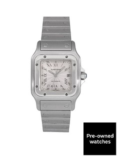 cartier-cartier-pre-owned-santos-automatic-silver-guilloche-dial-stainless-steel-mens-watch-ref-2319