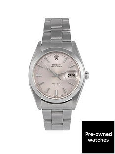 rolex-rolex-pre-owned-oysterdate-precision-silver-dial-stainless-steel-mens-watch-ref-6694