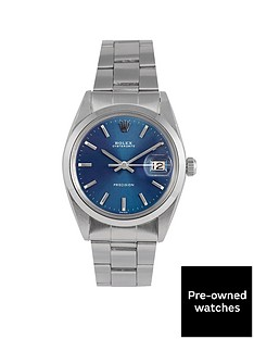 rolex-rolex-pre-owned-oysterdate-precision-blue-dial-stainless-steel-mens-watch-ref-6694