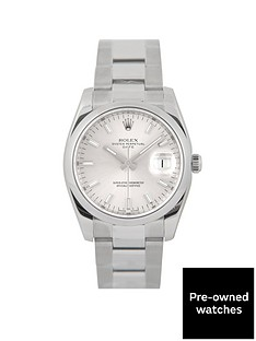rolex-rolex-pre-owned-date-silver-dial-stainless-steel-mens-watch-ref-115200