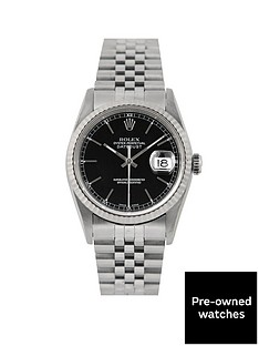 rolex-rolex-pre-owned-datejust-black-baton-dial-stainless-steel-mens-watch-ref-16234