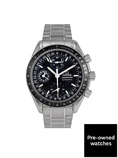 omega-omega-pre-owned-speedmaster-reduced-triple-calendar-black-dial-stainless-steel-mens-watch-ref-352050