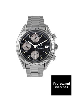 omega-omega-pre-owned-speedmaster-reduced-date-black-dial-stainless-steel-mens-watch-ref-351150