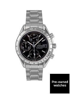 omega-omega-pre-owned-speedmaster-reduced-date-black-dial-stainless-steel-mens-watch-ref-351350