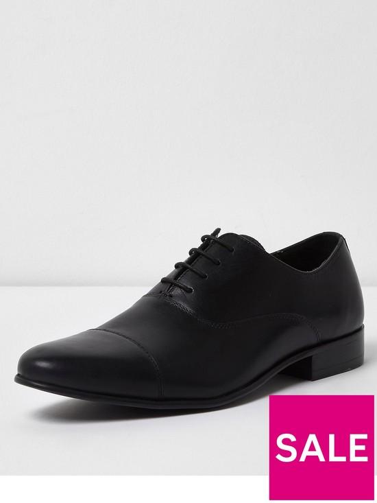 River Island Mens Dark leather toe cap Oxford shoes wdKqjc1