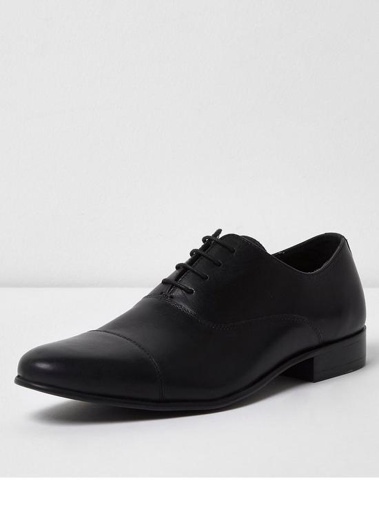 River Island Mens Dark leather toe cap Oxford shoes
