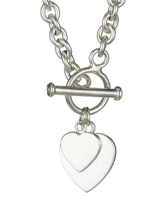f3774b5bafb The Love Silver Collection Elements Sterling Silver Double Heart T-Bar  Pendant