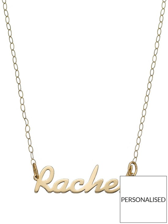 Love GOLD 9 Carat Yellow Gold Name Plate Necklace | very co uk