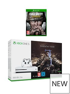 xbox-one-s-500gbnbspconsole-with-middle-earth-shadow-of-war-andnbspcall-of-dutynbspwwiinbspplus-optional-extra-controller-andor-12-months-live-gold