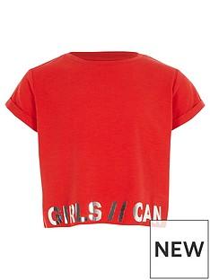 river-island-girls-ri-active-red-lsquogirls-canrsquo-foil-t-shirt
