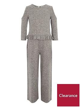 river-island-girls-marl-grey-cold-shoulder-frill-jumpsuit