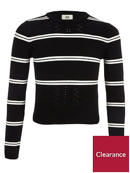 river-island-girls-black-stripe-fitted-long-sleeve-jumper