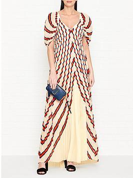 by-malene-birger-alvima-stripe-pleated-maxi-dress-creamorange