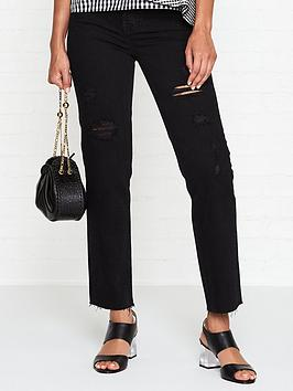 calvin-klein-high-rise-straightnbspleg-distressed-raw-hem-jeans-hook-black