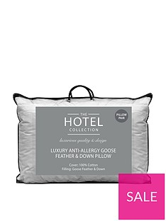 Ideal Home Luxury Anti-Allergy Goose Feather andDown Pillows (Pair)