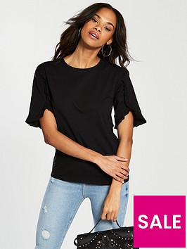 v-by-very-ruffle-sleeve-detail-t-shirt-black