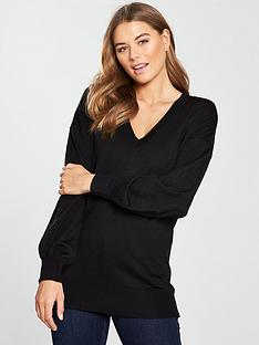 e6dbc101 V by Very V-neck Blouson Sleeve Slouch Jumper - Black · £15