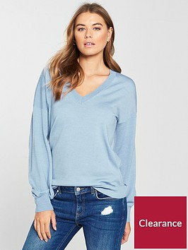 v-by-very-v-neck-blouson-sleeve-slouch-jumper-soft-blue