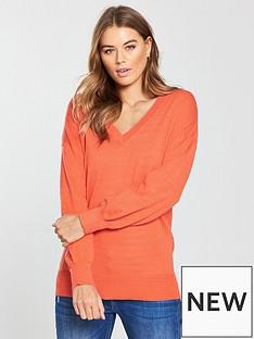 v-by-very-v-neck-blouson-sleeve-slouch-jumper-orange