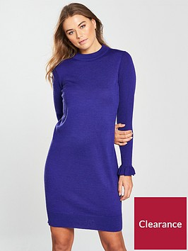 v-by-very-frill-cuff-knitted-dress-navy