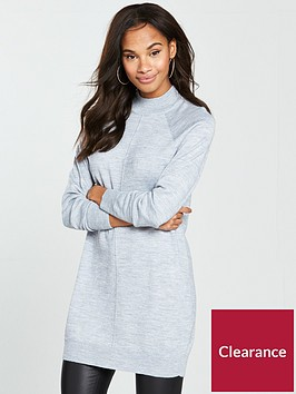 v-by-very-rib-hem-tunic-jumper-grey-marl