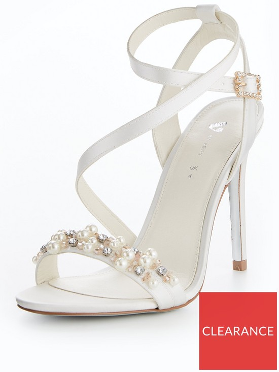 dea189ddc345 V by Very Lexy Bridal Pearl Assymetric Heeled Sandal Ivory
