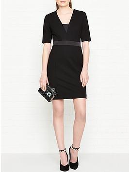 karl-lagerfeld-fitted-punto-dress-black