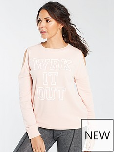michelle-keegan-cold-shoulder-longline-slogan-sweat