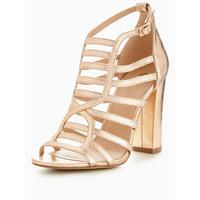 sara-caged-block-heel-sandal---rose-gold by v-by-very