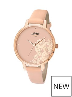 limit-limit-ladies-rose-gold-plated-watch-with-blush-coloured-strap-and-shiny-rose-gold-plated-flat-shine-floral-effect-dial