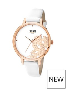 limit-limit-ladies-rose-gold-plated-watch-with-white-strap-and-shiny-rose-gold-plated-flat-shine-floral-effect-dial
