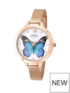 limit-limit-ladies-rose-gold-plated-watch-with-rose-gold-plated-mesh-bracelet-and-blue-butterfly-design