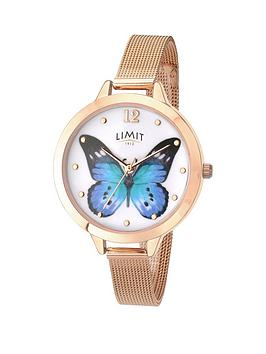 limit-rose-gold-plated-blue-butterfly-dial-ladies-watch
