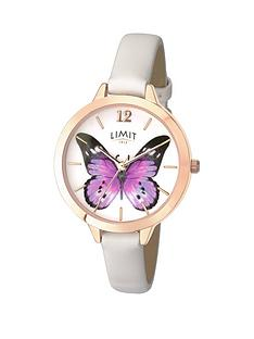 limit-rose-gold-plated-white-strap-purple-butterfly-dial-ladies-watch