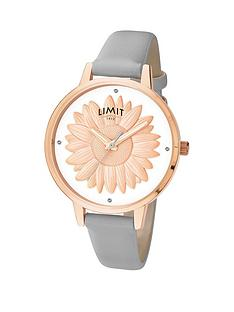 limit-rose-gold-plated-grey-strap-ampnbsp3d-sunflower-dial-ladies-watch