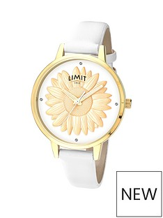 limit-limit-ladies-gold-plated-watch-with-white-strap-and-3d-gold-plated-sunflower-design