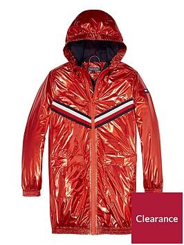 tommy-hilfiger-girls-metallic-hooded-jacket-red