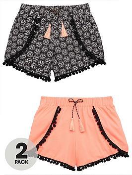 v-by-very-girls-2-pack-aztec-pom-pom-shorts