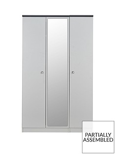 SWIFT Napoli Part Assembled 3 Door Mirrored Wardrobe